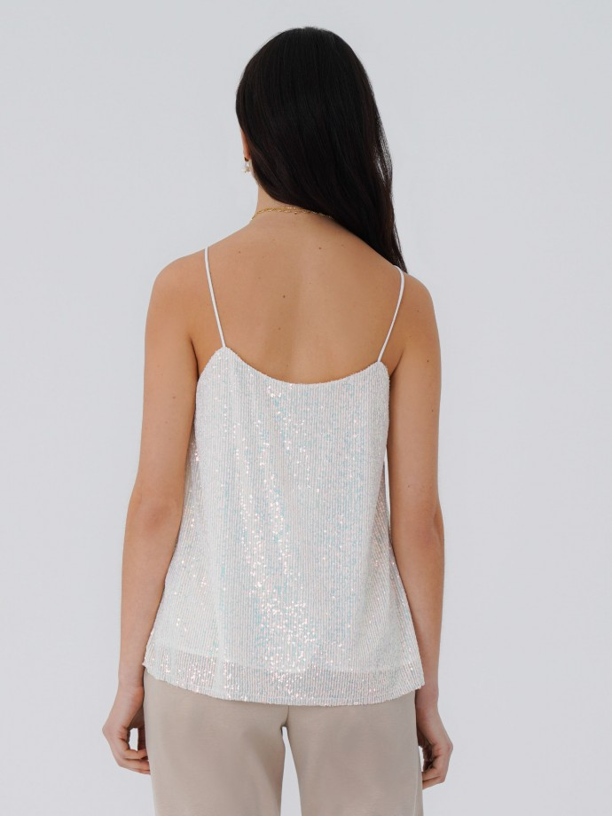 Strap top in two-tone sequins
