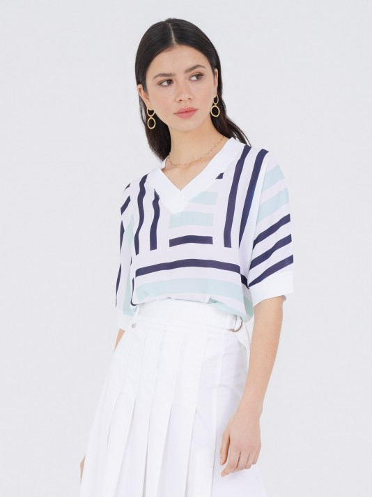 Short sleeve tunic with stripes