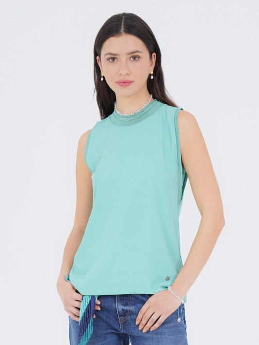 Mesh and fabric top