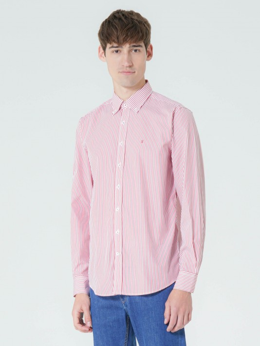 Regular fit striped poplin shirt
