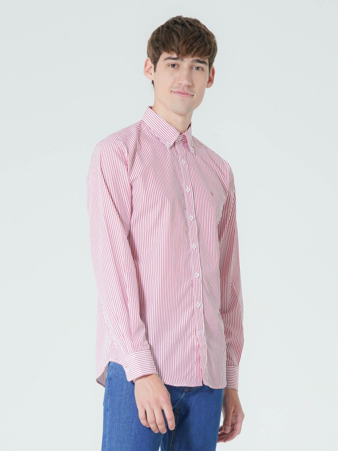 Camisa regular fit popelina riscas