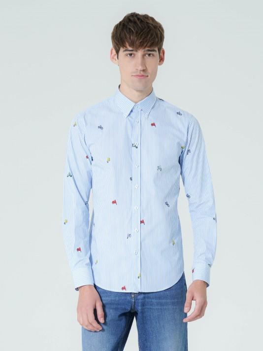 Camisa de rayas con micro estampado