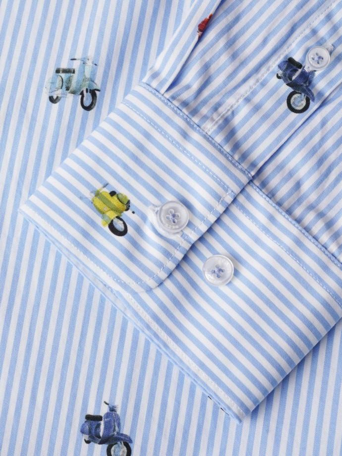 Camisa de riscas com micro padrão
