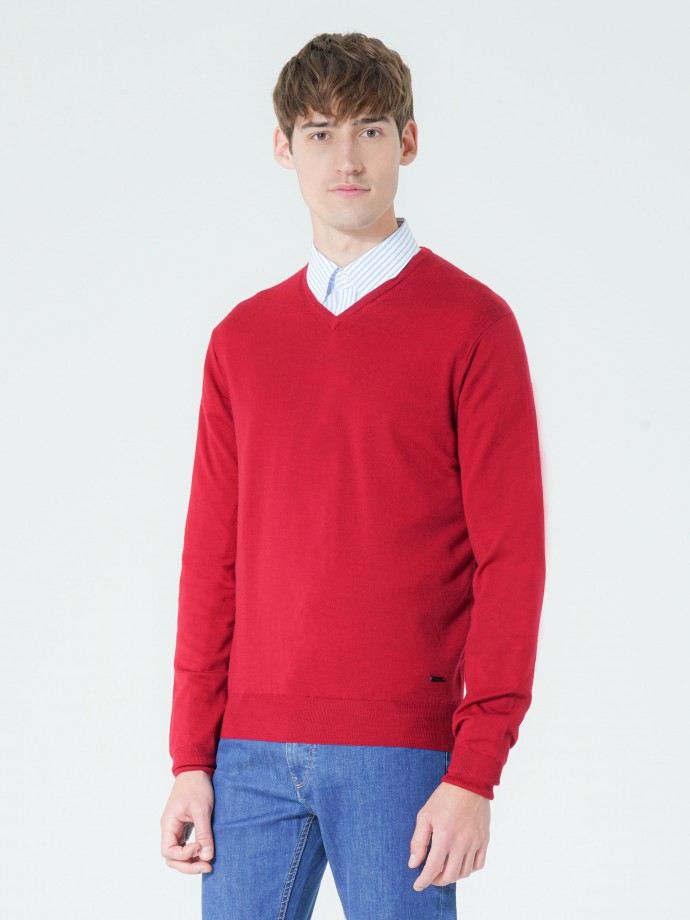 Camisola decote em V 100% lã merino