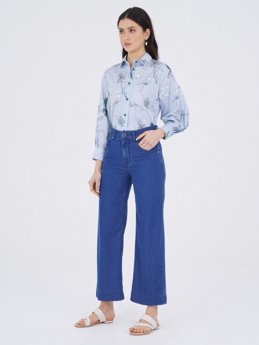 Denim trousers in lyocell and cotton