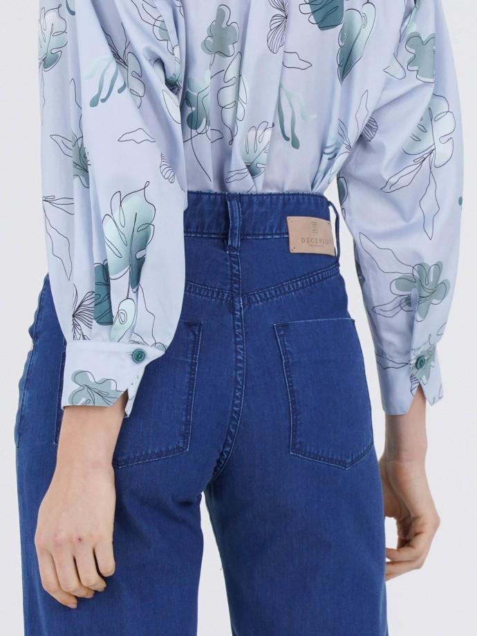 Pantalón denim en lyocell y algodón