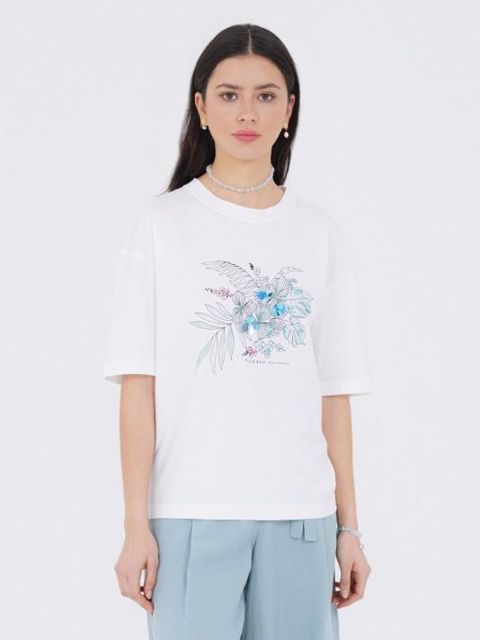 Camiseta de punto con motivos florales