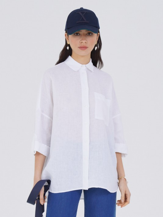 Blusa larga oversize de lino