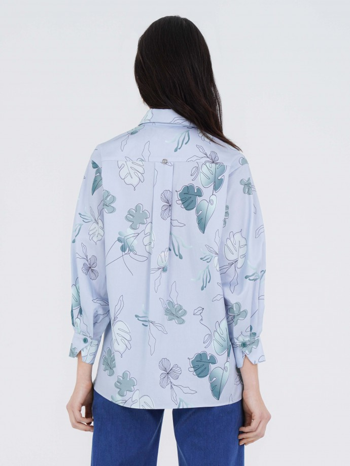 Blusa estampada manga larga