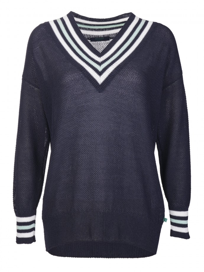 V-neck sweater with striped detail