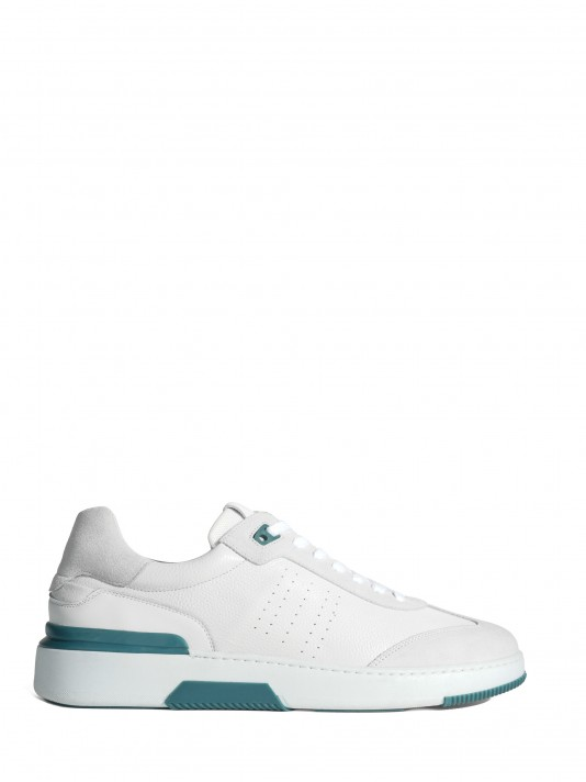 White sneakers with green detail