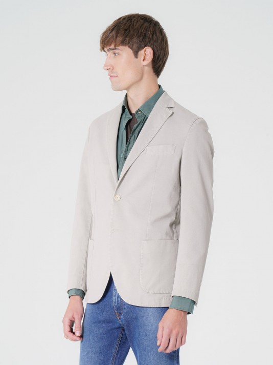 Slim fit stretch cotton blazer