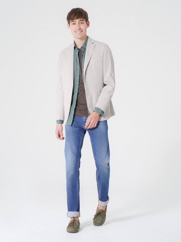 Blazer em algodão stretch slim fit