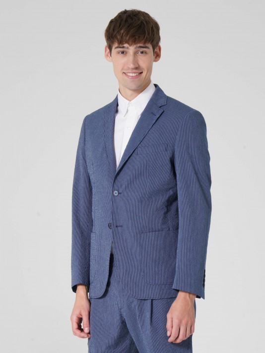 Regular fit blazer in stretch cotton