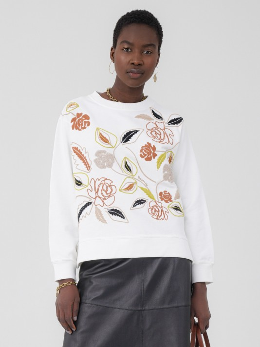 Embroidered sweatshirt with floral motifs