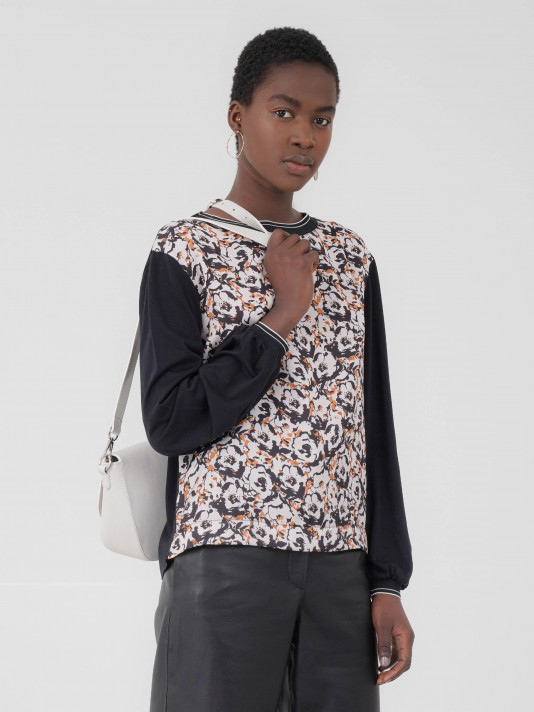 Combined sweater with floral print