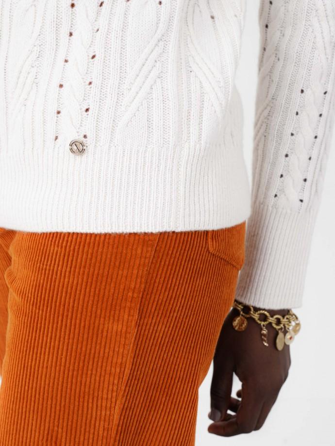 Camisola rendilhada em lã e algodão