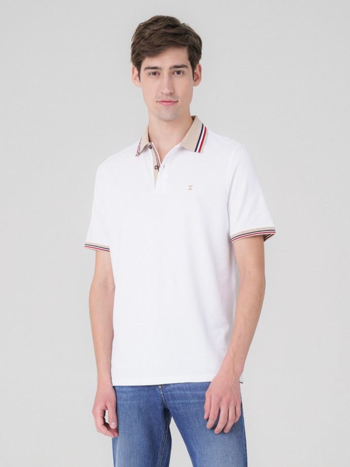 Piqué polo shirt with striped detail