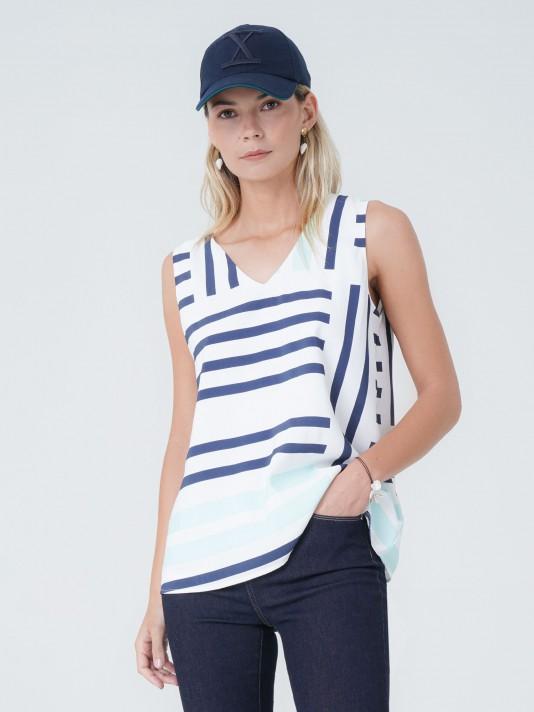 Asymmetrical striped top