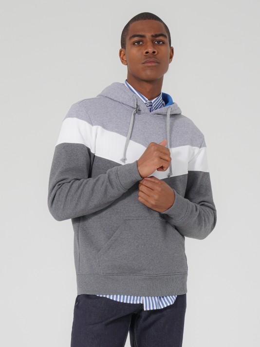 Sweatshirt tricolor com capuz
