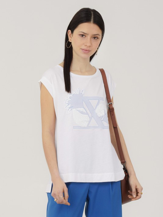Oversized lyocell and cotton t-shirt