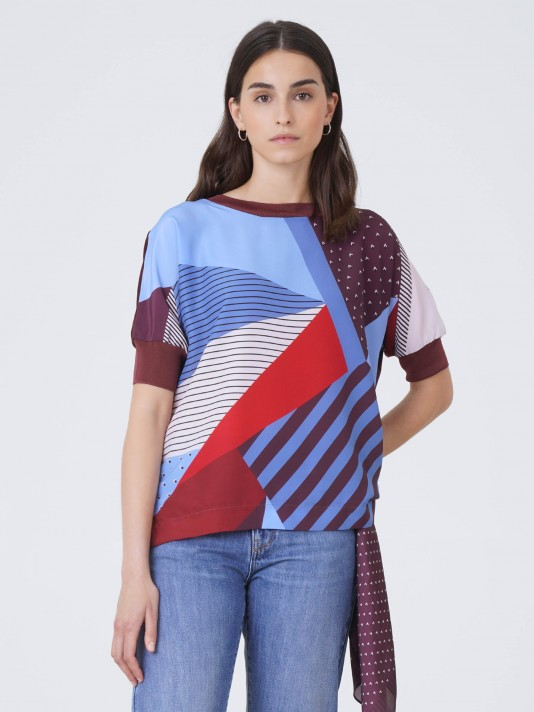 T-shirt combinada estampada