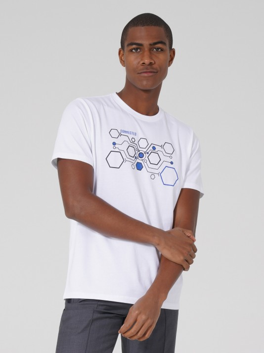 T-shirt com estampado e bordado