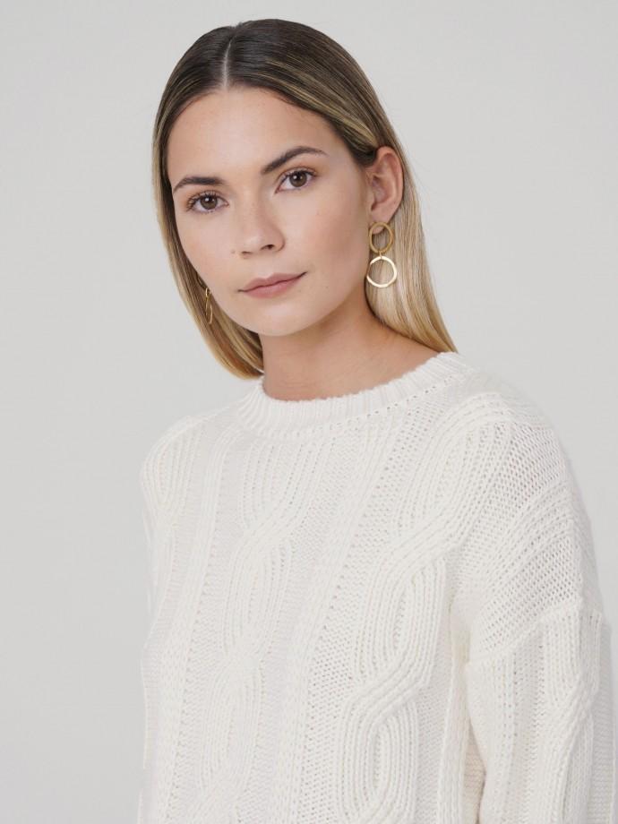 Camisola trançada com lã merino
