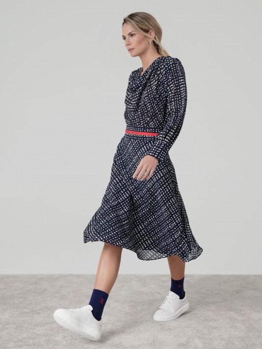 Dress with draped neckline