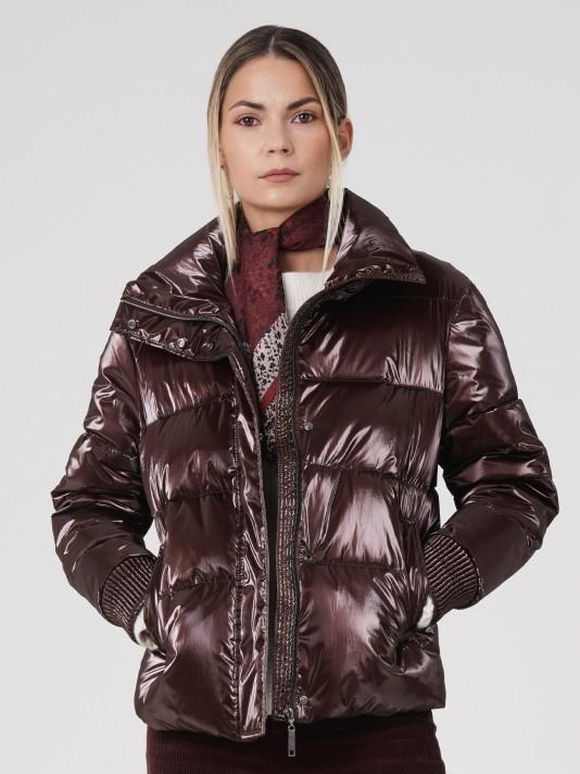 Manteau court métallisé