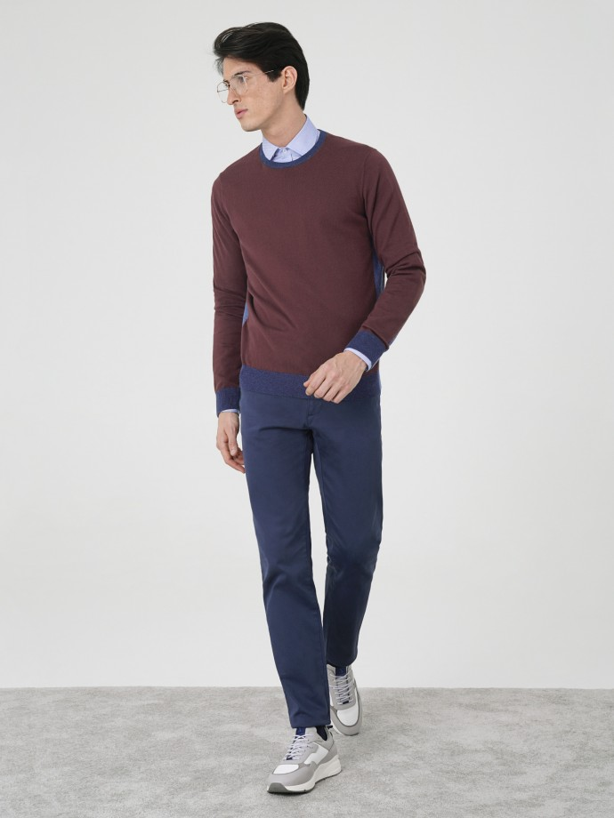 Camisola bicolor em algodão e caxemira