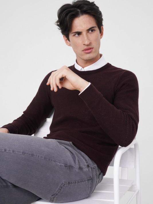 Camisola estruturada 100% lã merino