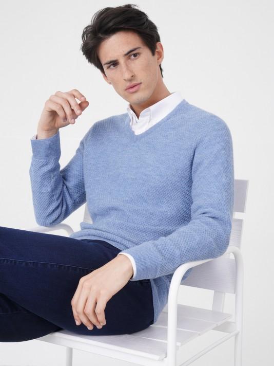 Jersey 100% lana merino con cuello de pico