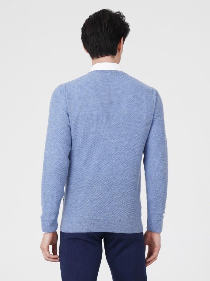 Camisola decote V 100% lã merino