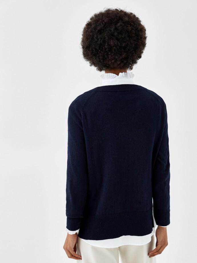 Camisola em algodão, seda e caxemira